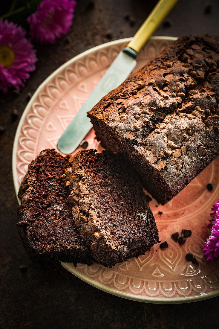 Chocolate zucchini cake, sliced