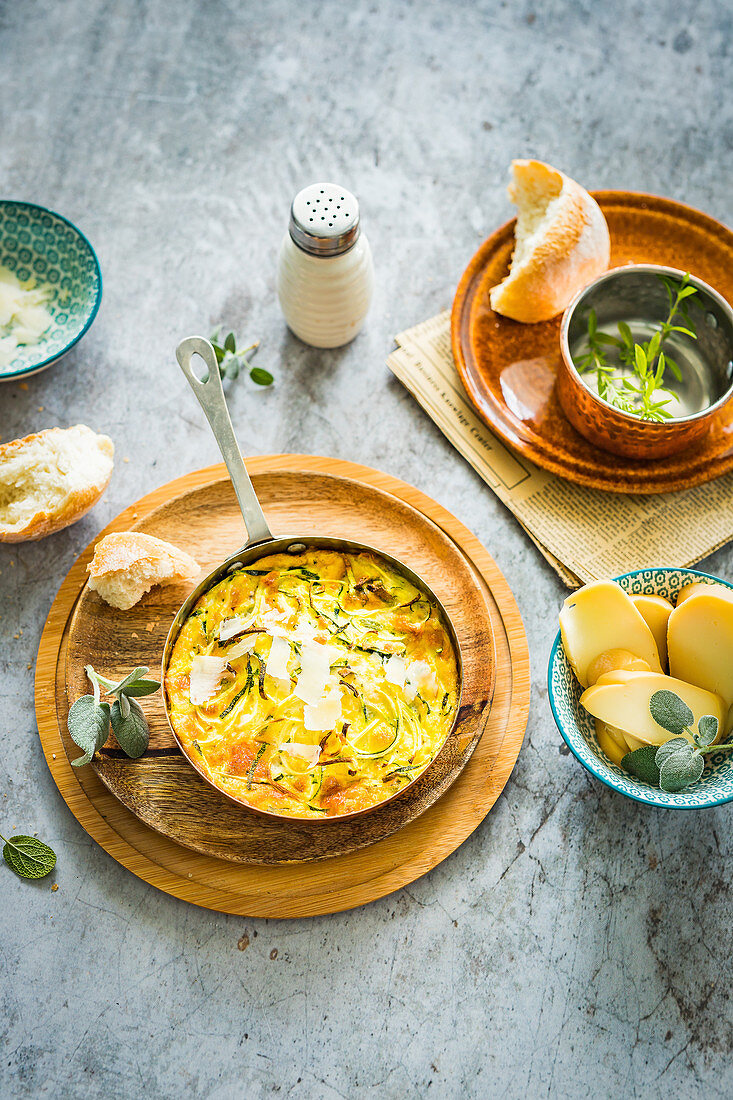Zucchini and potato casserole with cheese