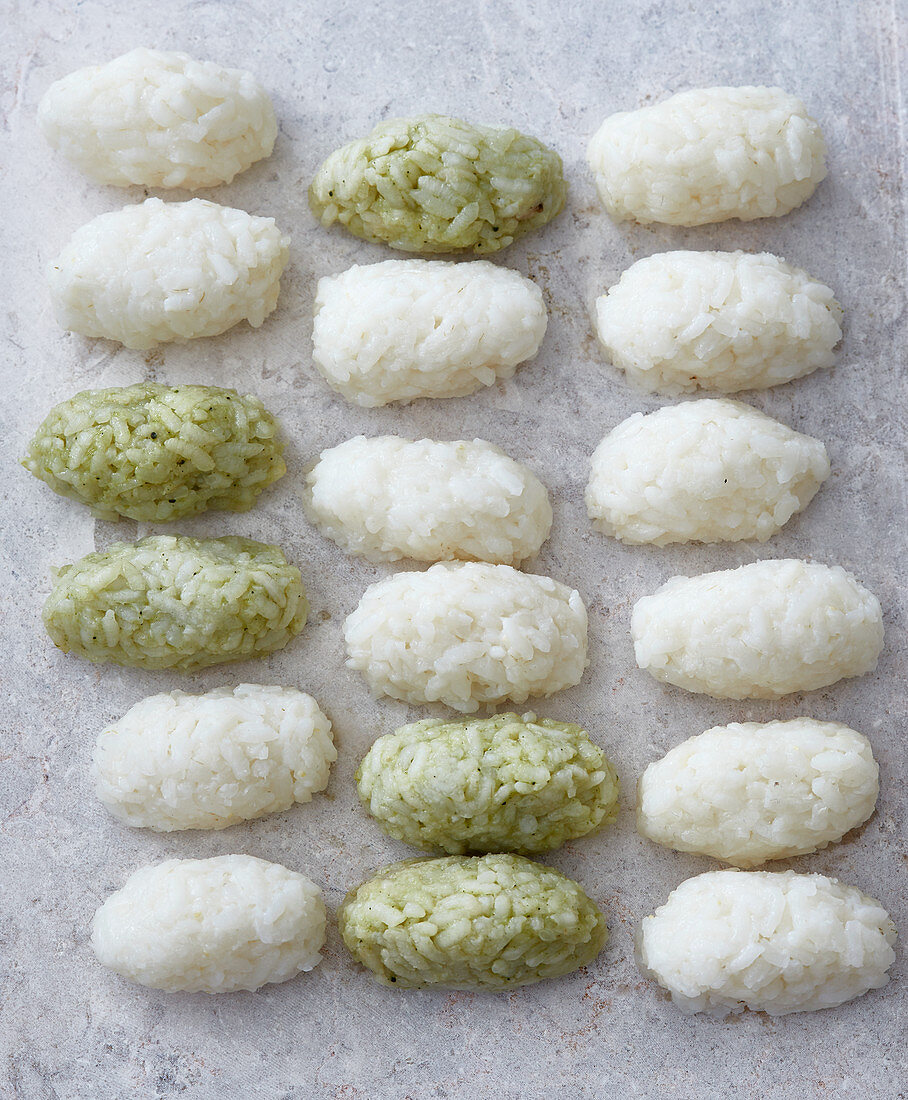 Two types of rice balls for nigiri sushi