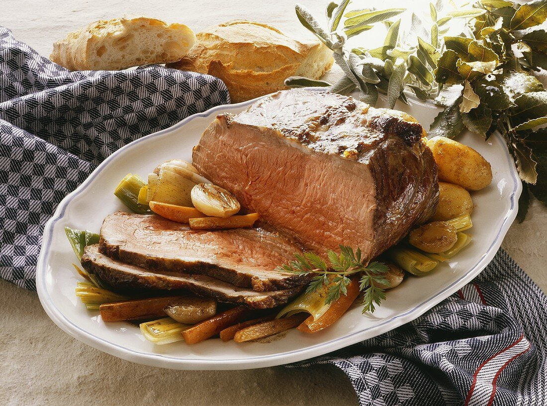 Roastbeef on young Vegetables
