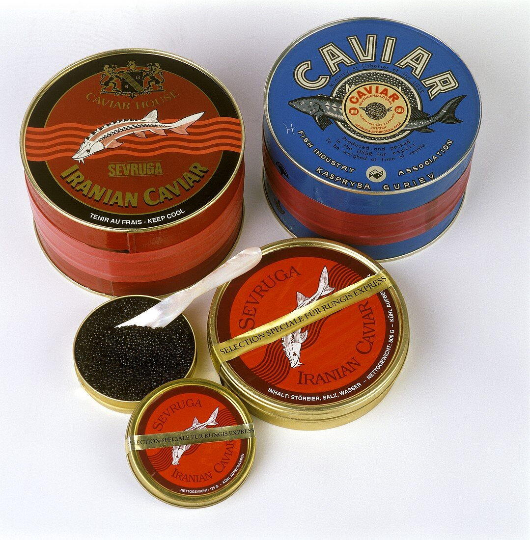 Black Sevruga caviar from Russia and Iran in tins