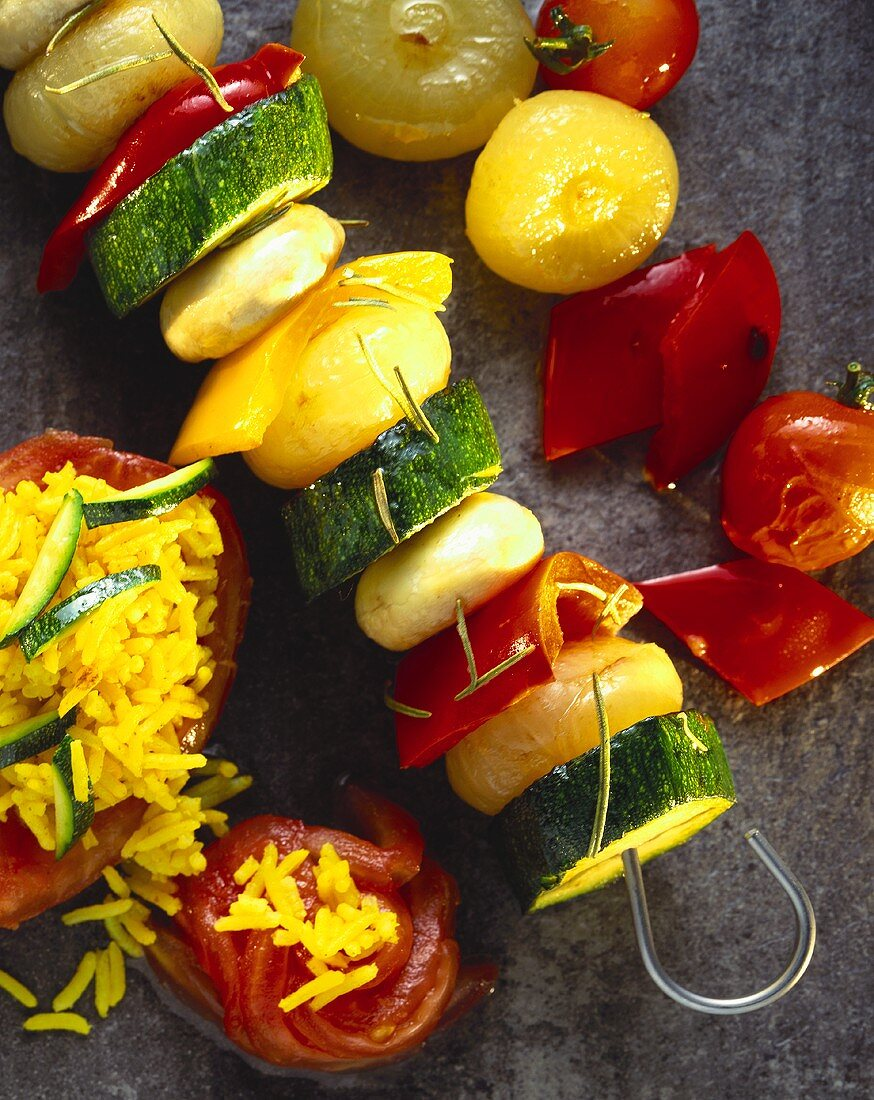 Vegetable kebab with courgettes, onions, mushrooms, pepper