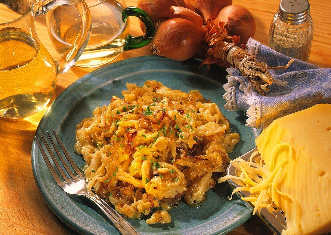 German cheese noodles (spaetzle) sprinkled with chives