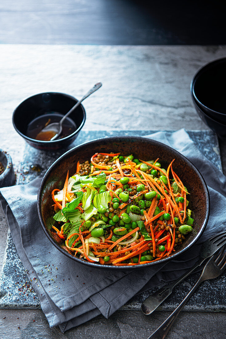 Japanese inspired bean sald with carrot, pak choi, dried sea weed flakes with miso and ginger dressing