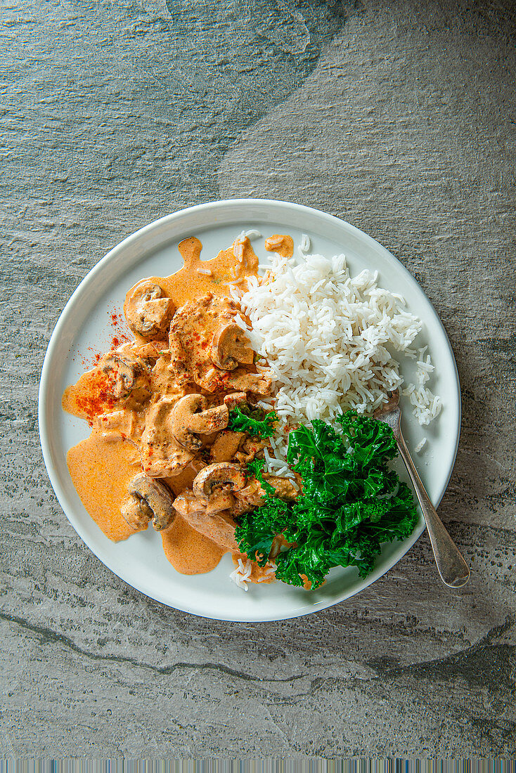 pork stroganoff with mushroom, paprika and sour cream, rice and kale on a side, view from above.