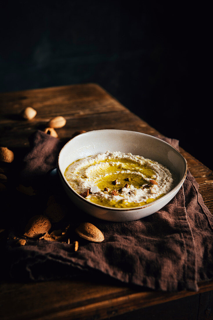 Almond Hummus with olive oil