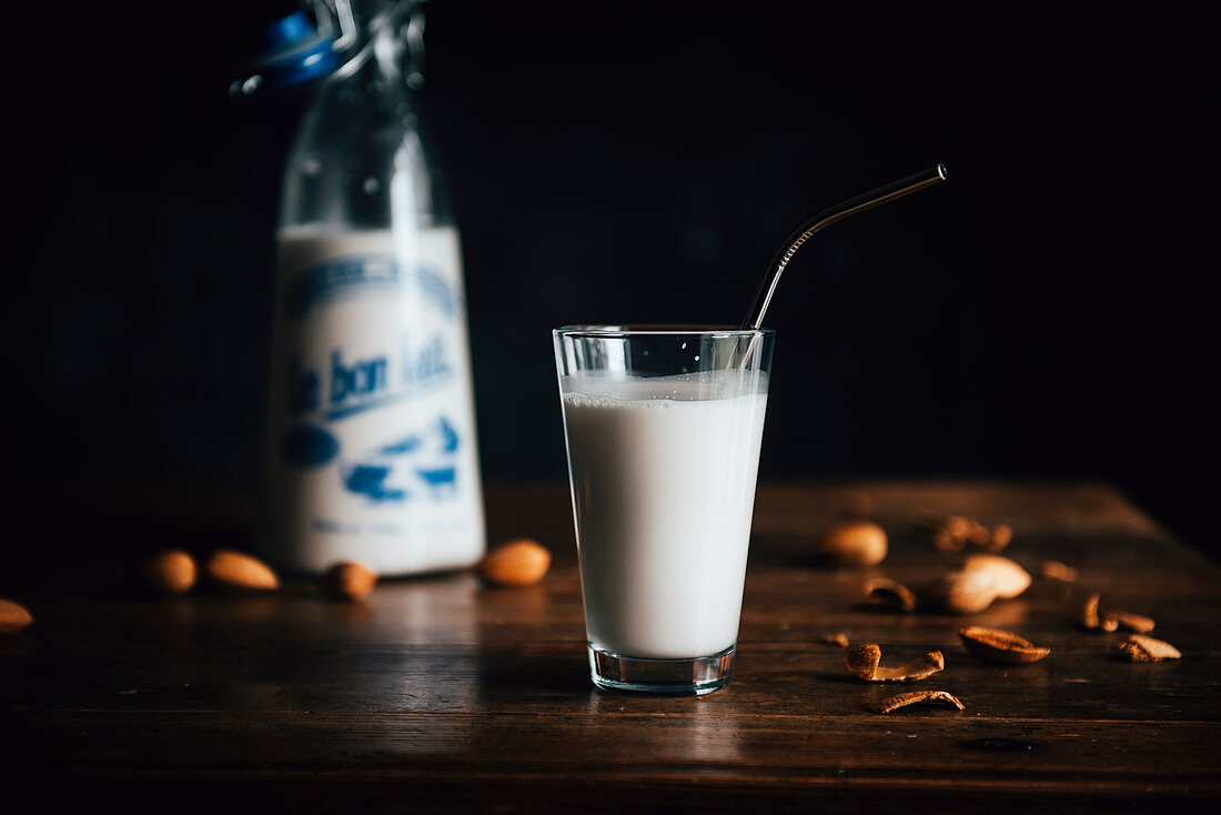 Almond Milk in a Bottle and a Glass