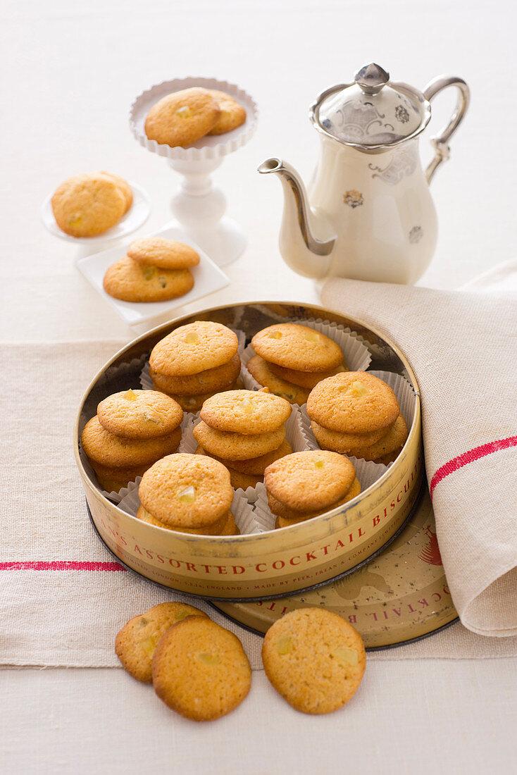 Apple and dried lemon peel biscuits