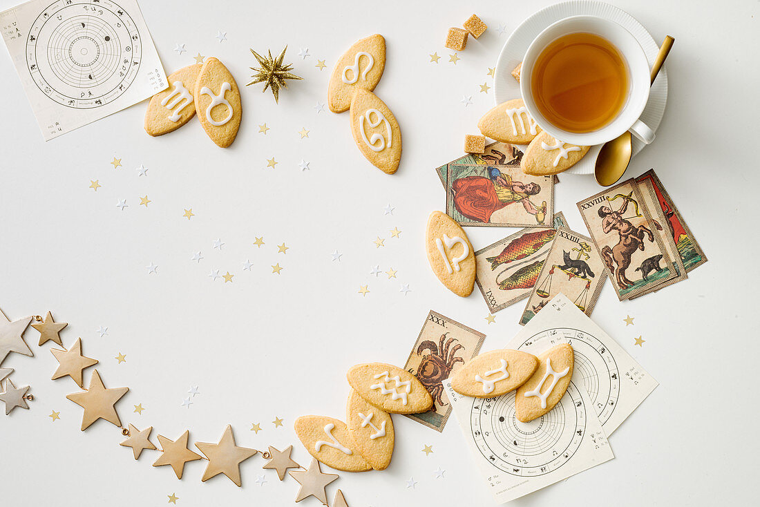 Star sign biscuits with a cup of tea