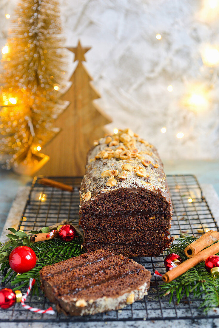Gingerbread layered with plum jam