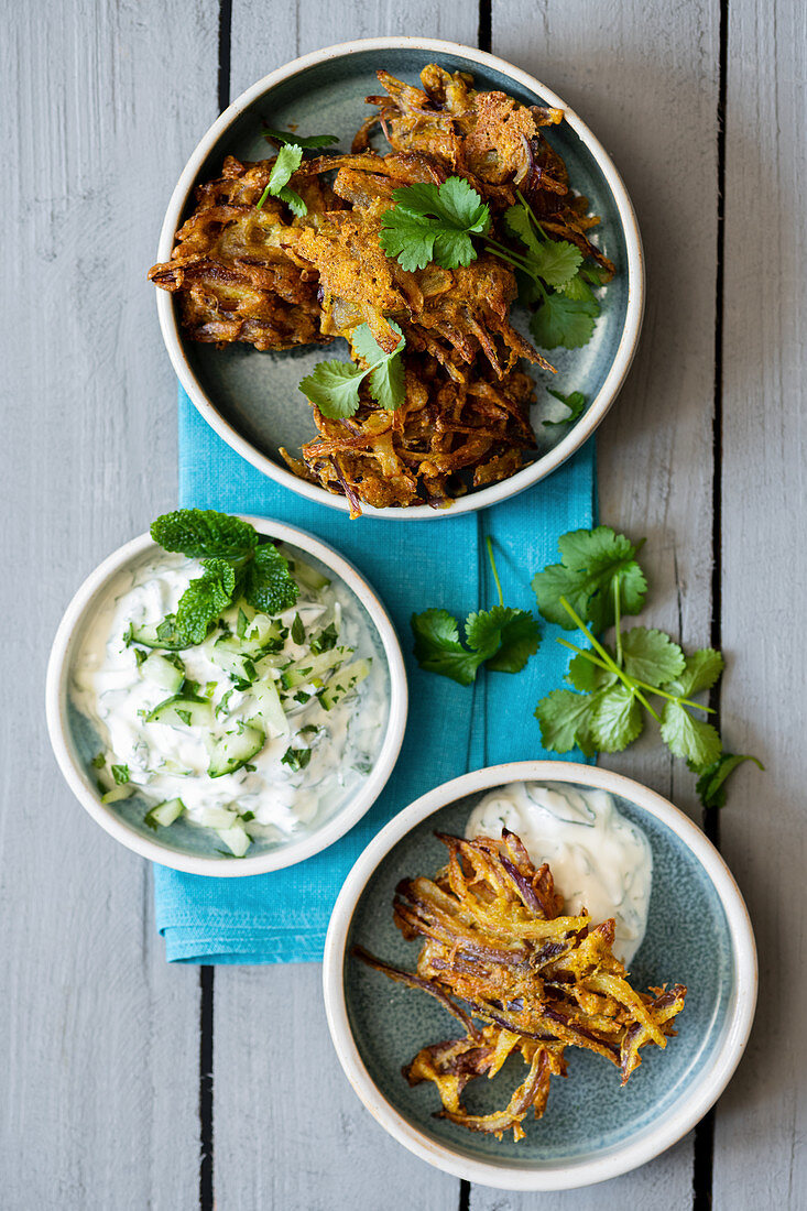 Red Onion Bhajis with Coriander and Cucumber Raita