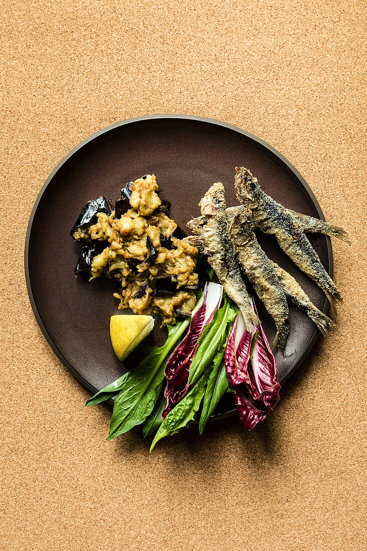 Aubergine mousse with sardines and a tangy salad