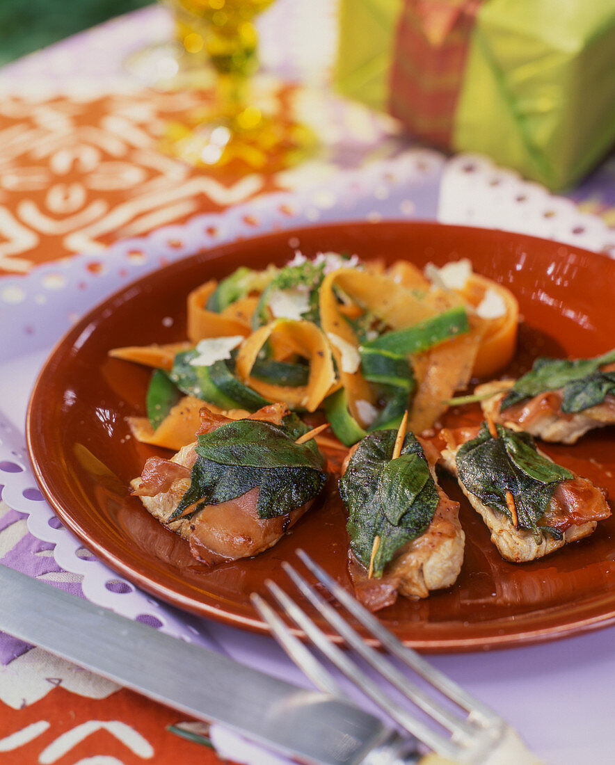 Chicken with sage and bacon