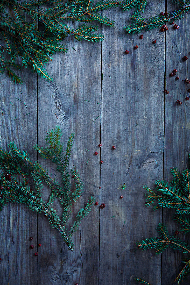 Wooden background with branches and cranberries