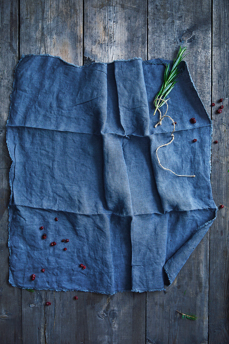 Cranberries on a blue cloth