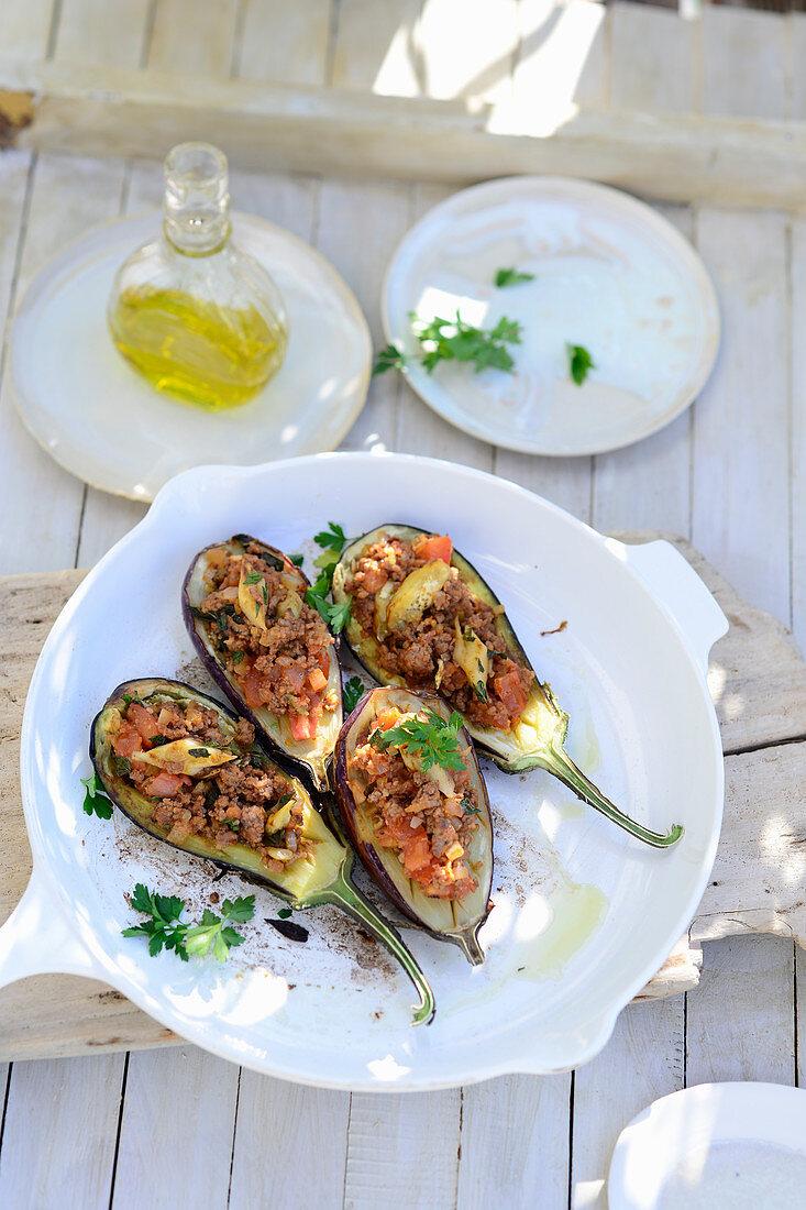Imam Bayildi (Stuffed aubergines, Turkey)