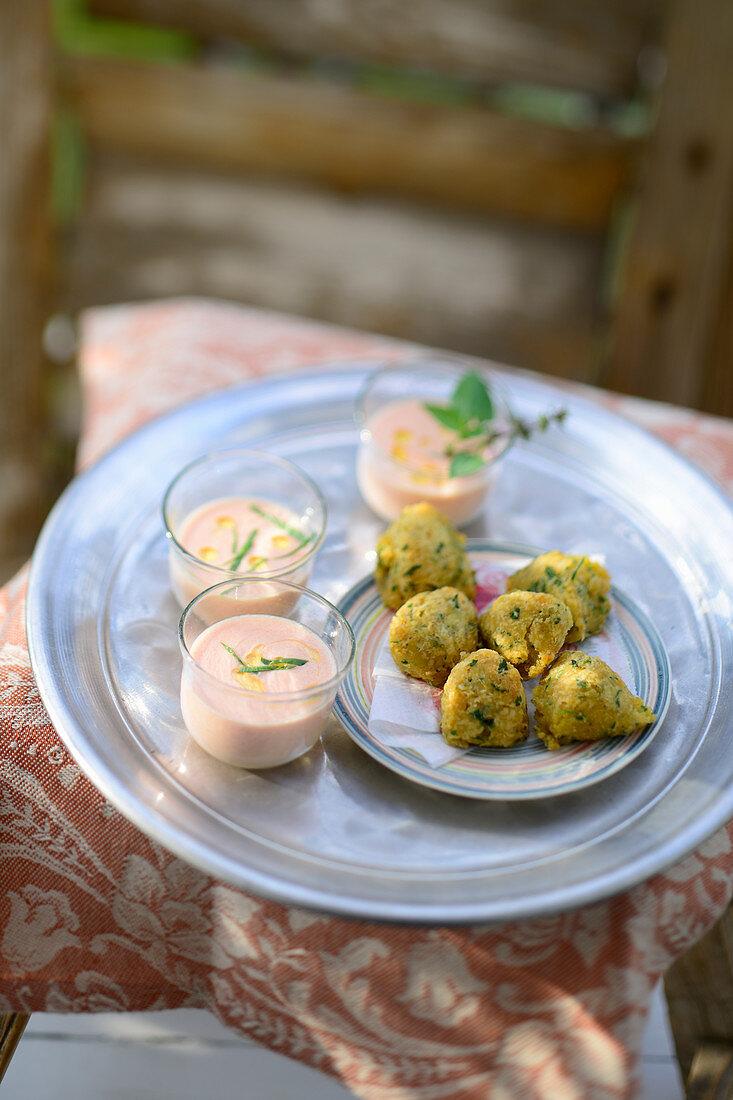 Turkish lentil balls with tomato ayran
