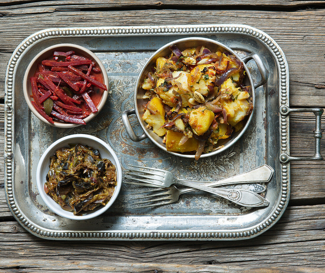 Asian eggplants with beet curry and potatoes