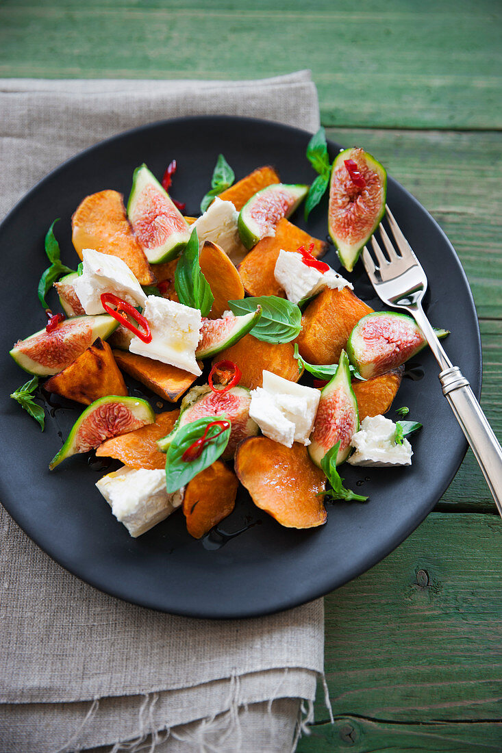 Fig and sweet potato salad with goat's cheese