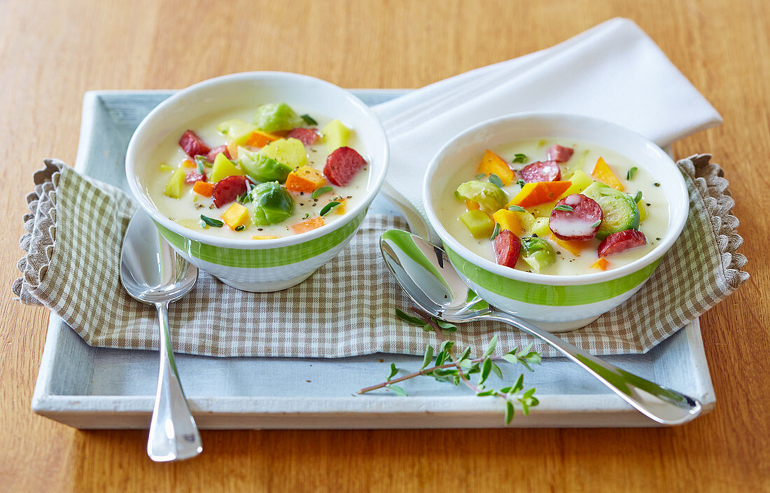 Potato and Brussels sprout stew with cabanossi