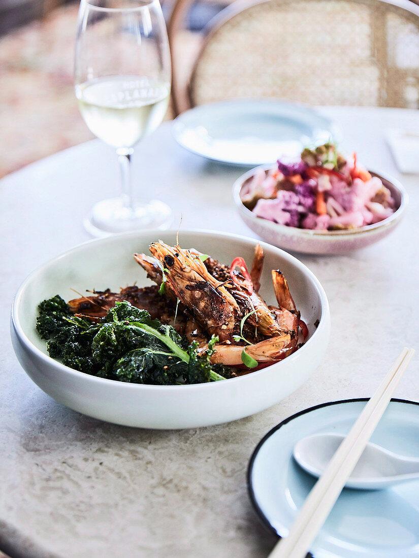 Typhoon king prawns with a side of vegetables (Hotel Esplanade, Melbourne, Australia)