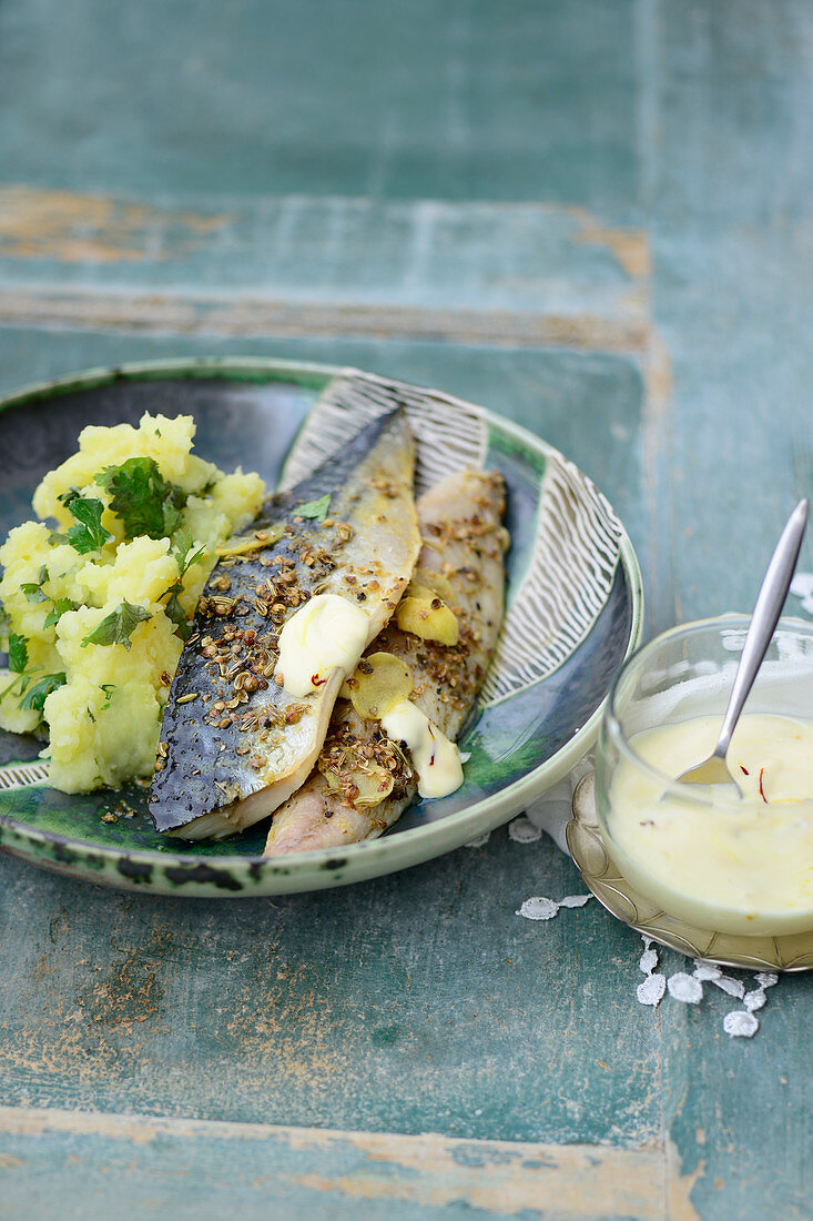 Turkish mackerel with saffron mayonnaise and mashed potatoes