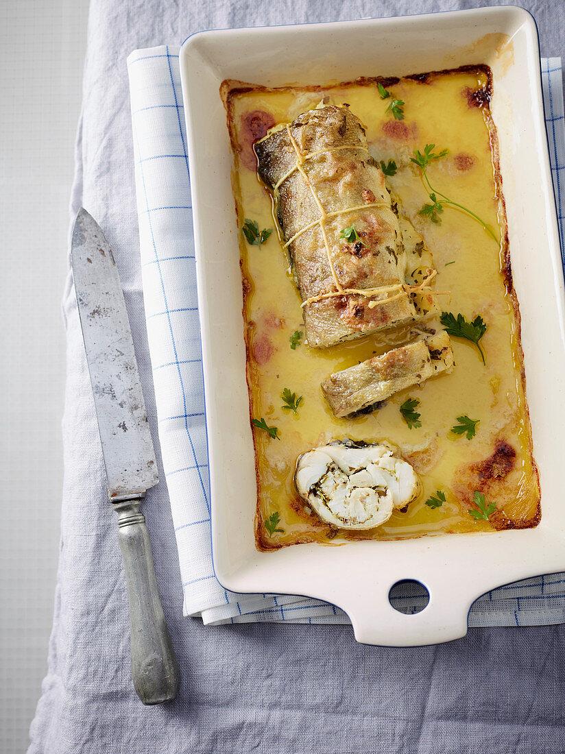 Baccalà arrotolato (stockfish roulade, Italy)