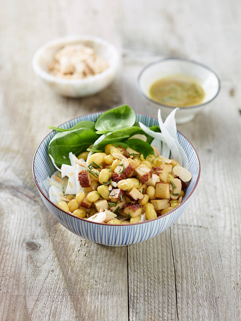 Zolfino bean salad with smoked tofu and fennel