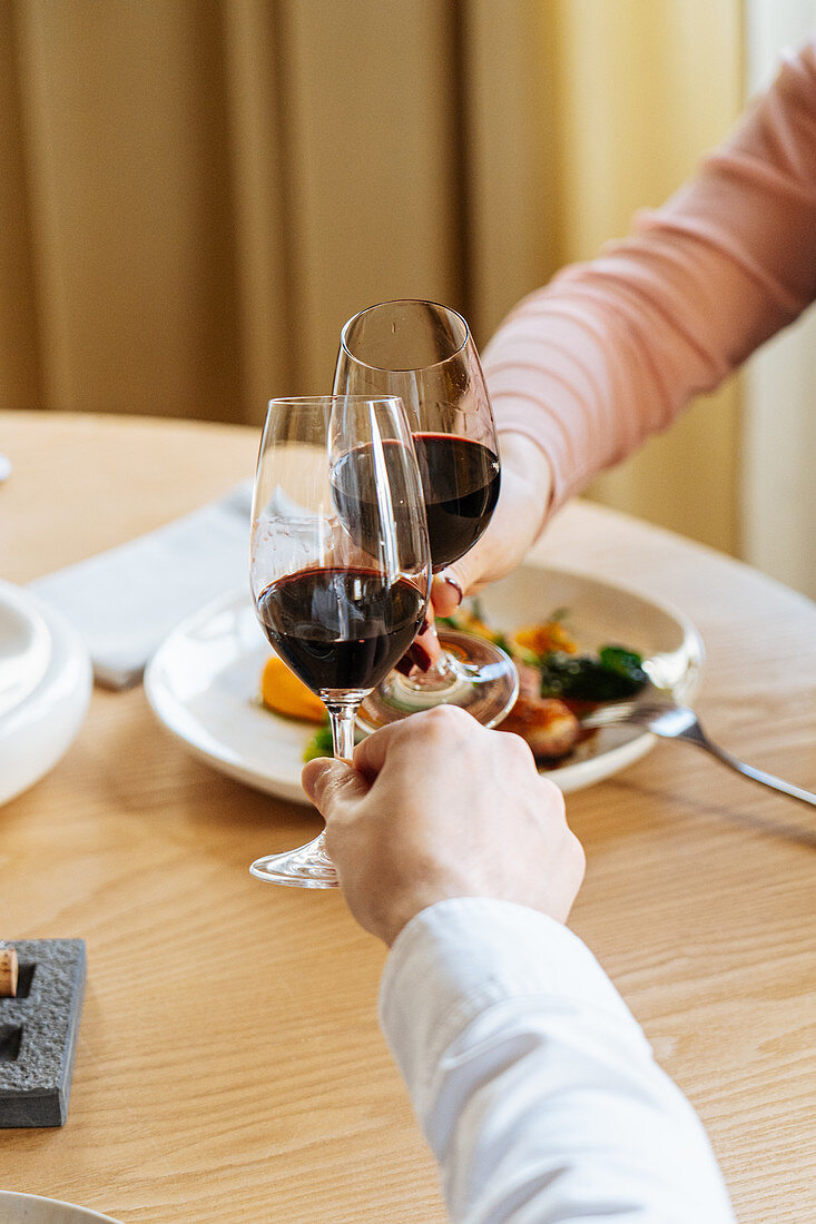 Couple clinking glasses of red wine and proposing toast during lunch in luxury restaurant