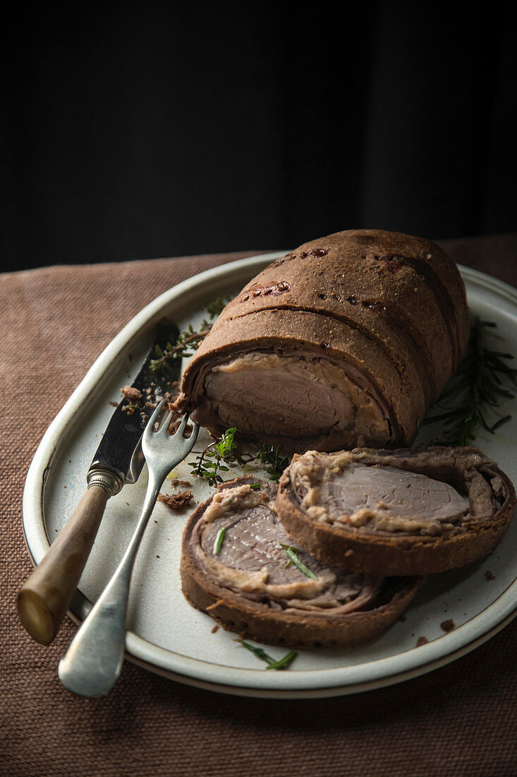 Pork fillet wrapped in chocolate
