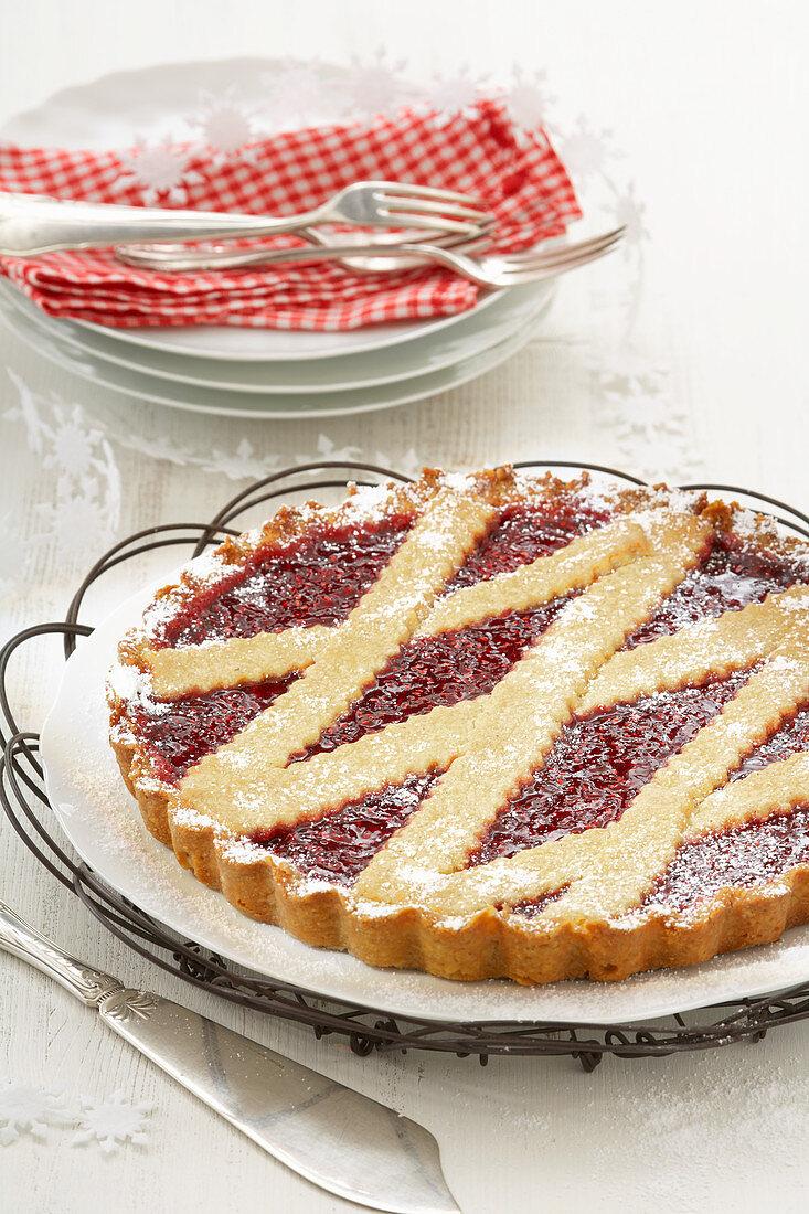 Linzer Torte with powdered sugar