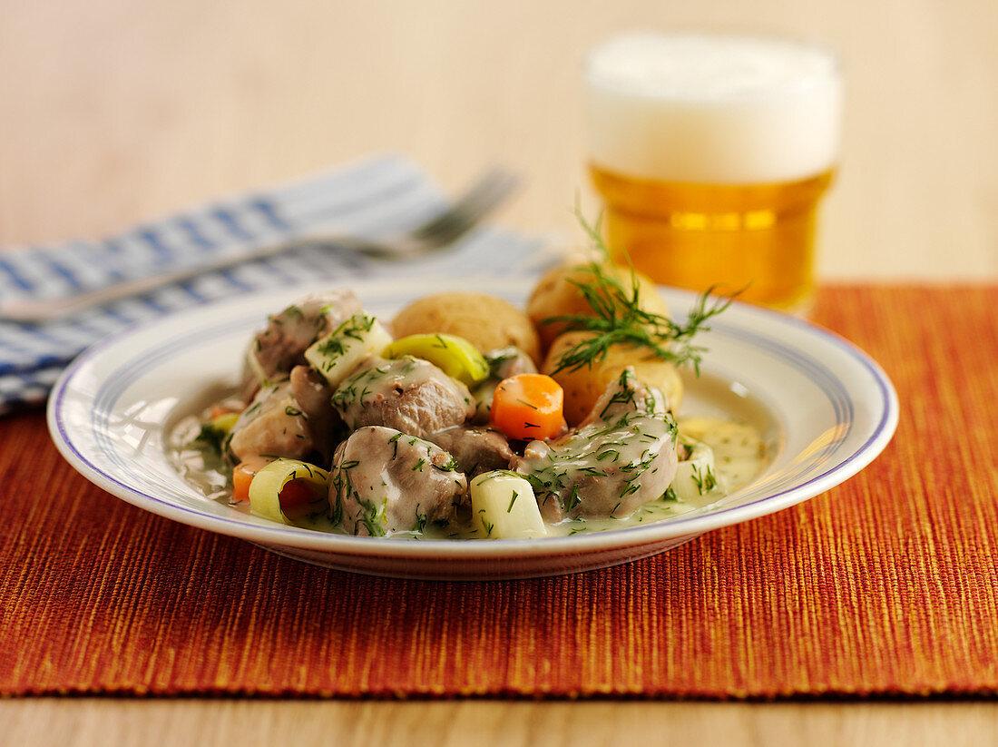 Swedish lamb ragout in dill sauce