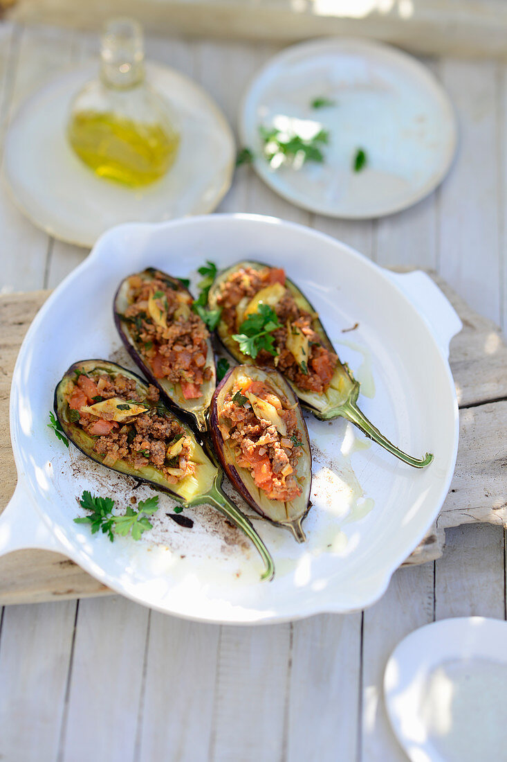 Imam Bayildi (Stuffed aubergines, Turkey)