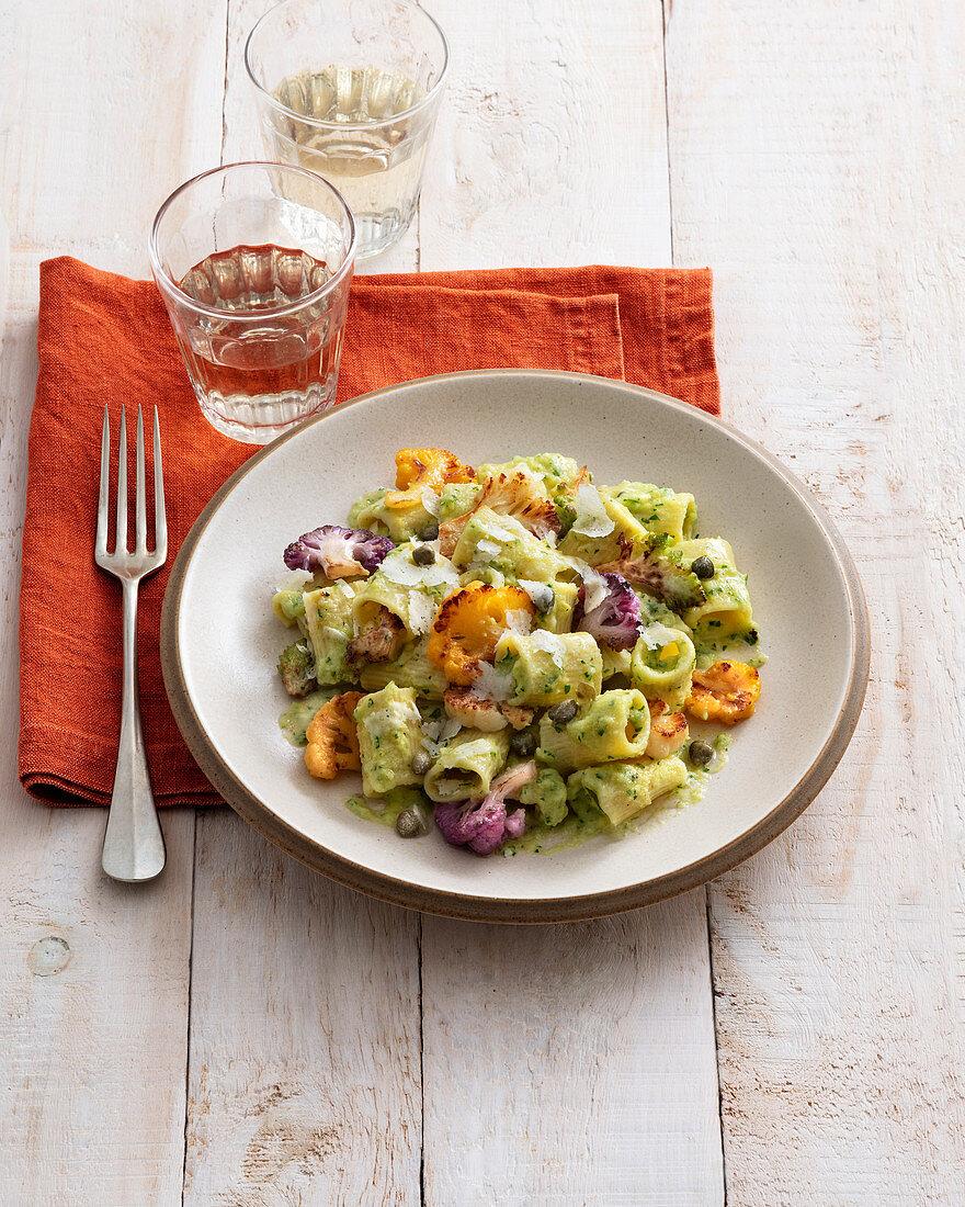 Mezze maniche with colourful cauliflower