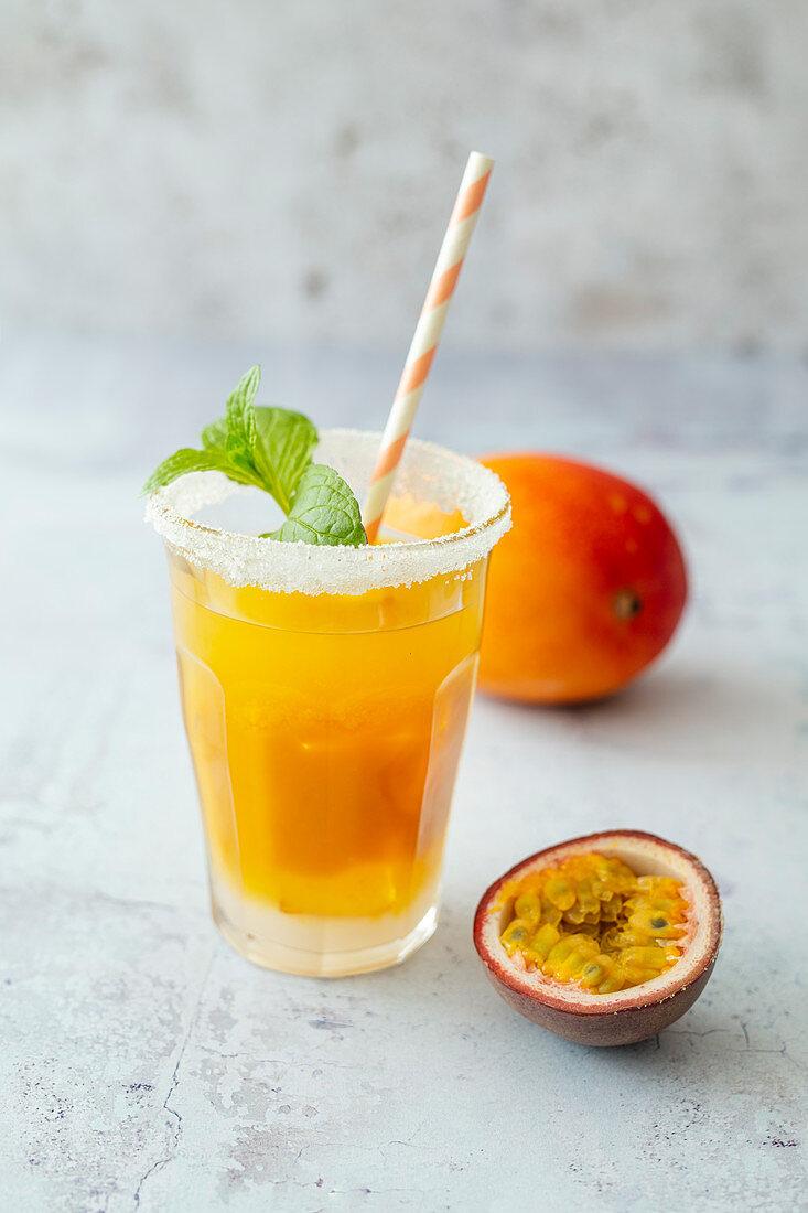 Feels like Asia (mocktail with passion fruit juice, mango puree and Tabasco)