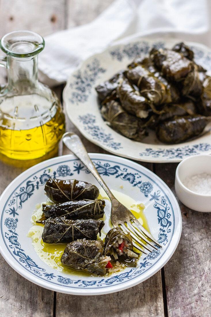 Greek domlades from wine leaves, salt, olive oil