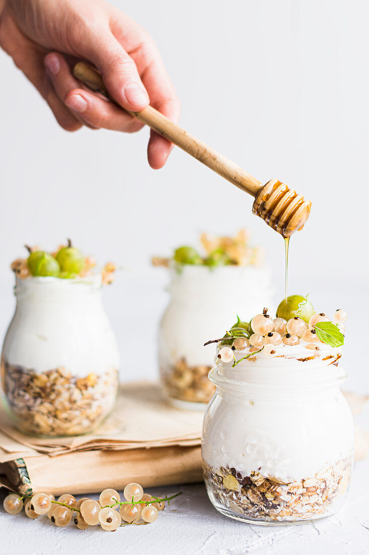 Yogurt with fresh fruits and granola