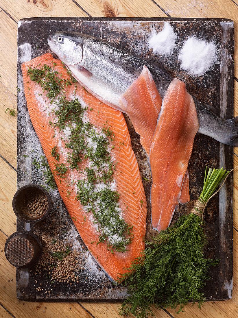 Smoked salmon and salmon trout