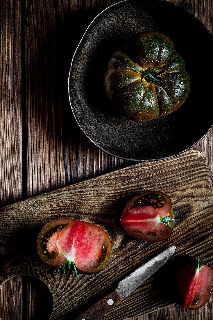 Black heirloom tomato