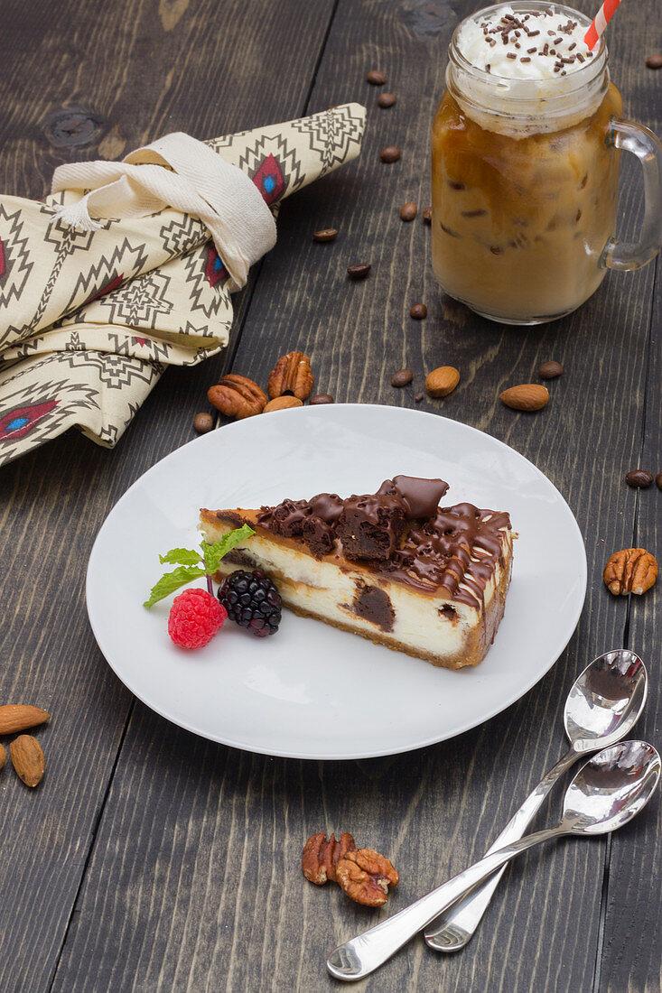 Iced coffee, chocolate cake