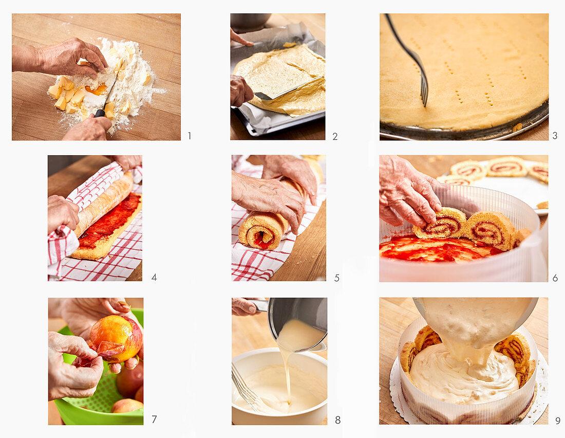 Pfirsich-Holler-Charlottentorte zubereiten
