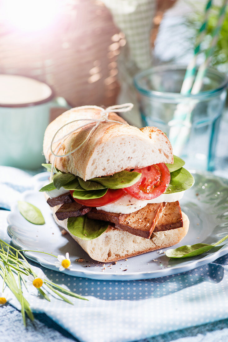Baguette sandwich with tofu, tomato and mozzarella for a picnic