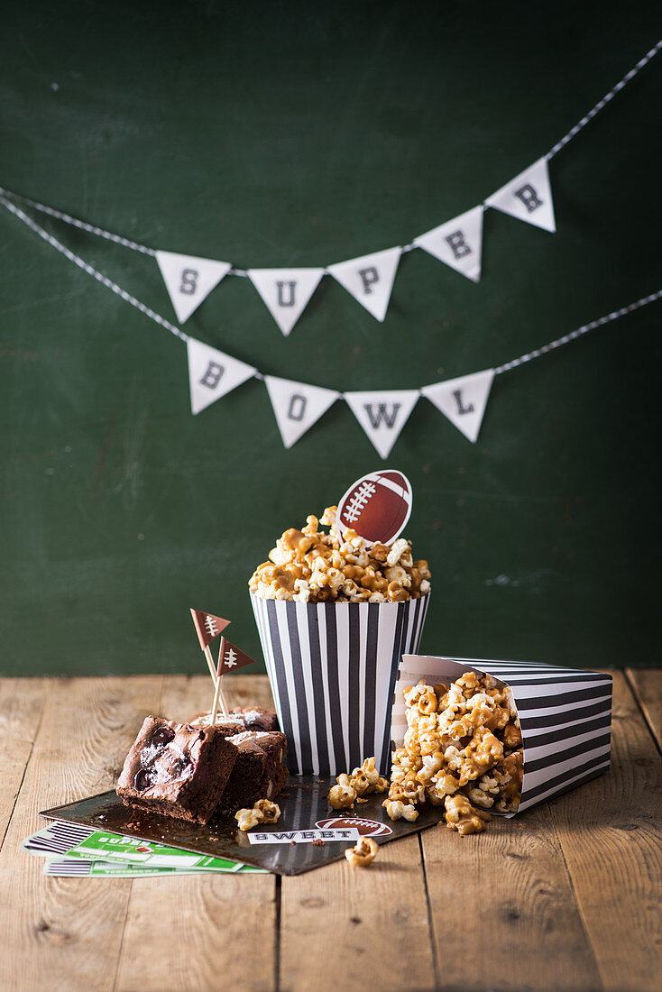 Brownies and popcorn for a Super Bowl party