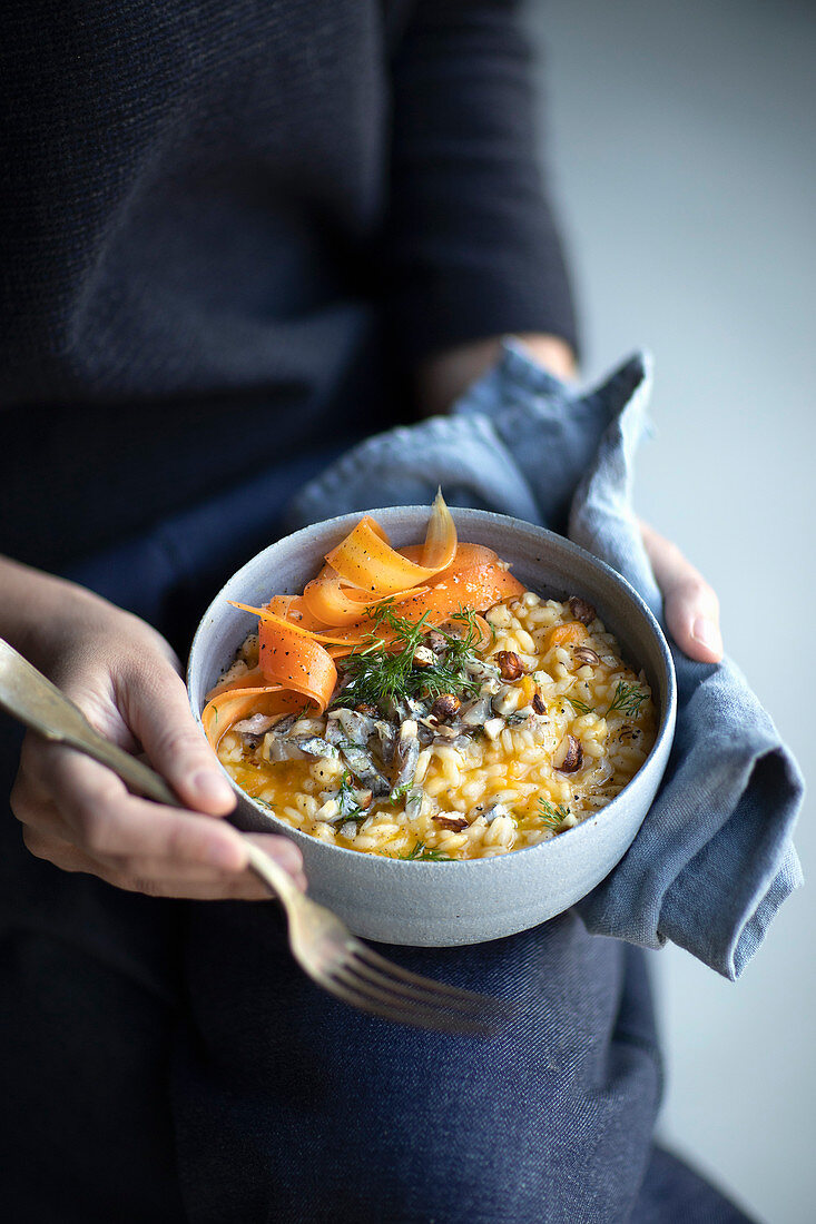 Carrot risotto with lemon butter, anchovies and fennel