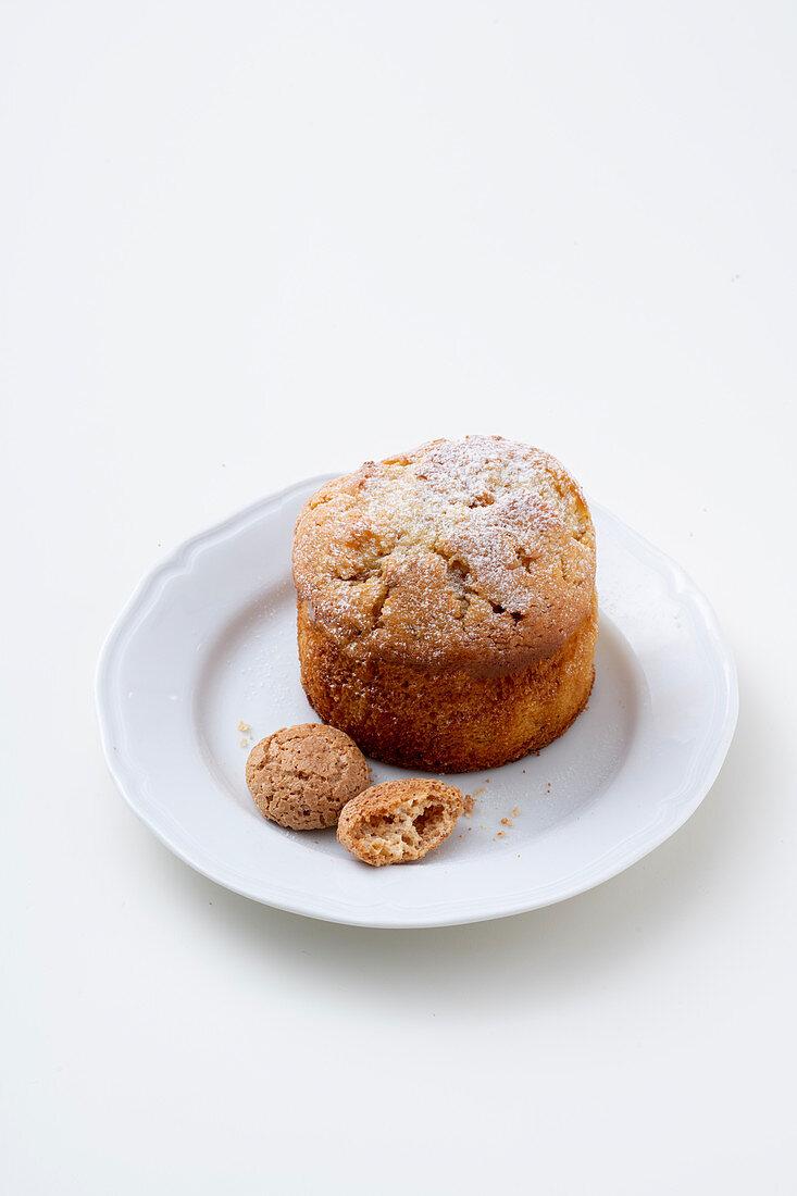 Amaretti and ricotta souffle with almonds