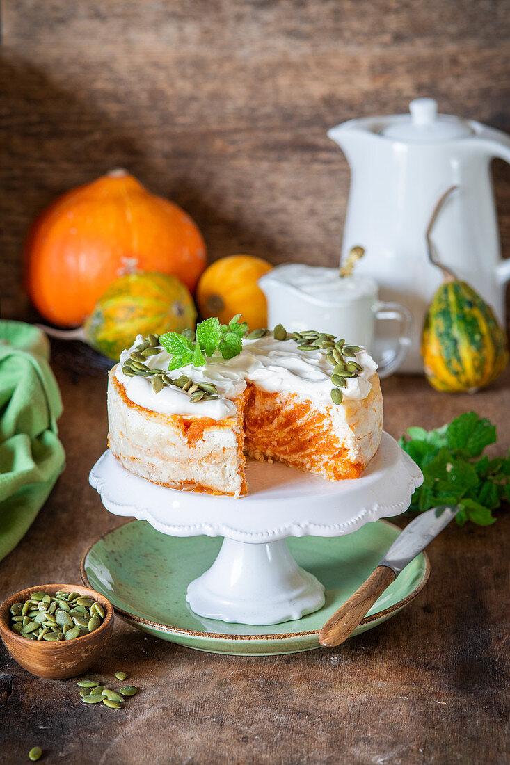 Pumpkin cottage cheese cake