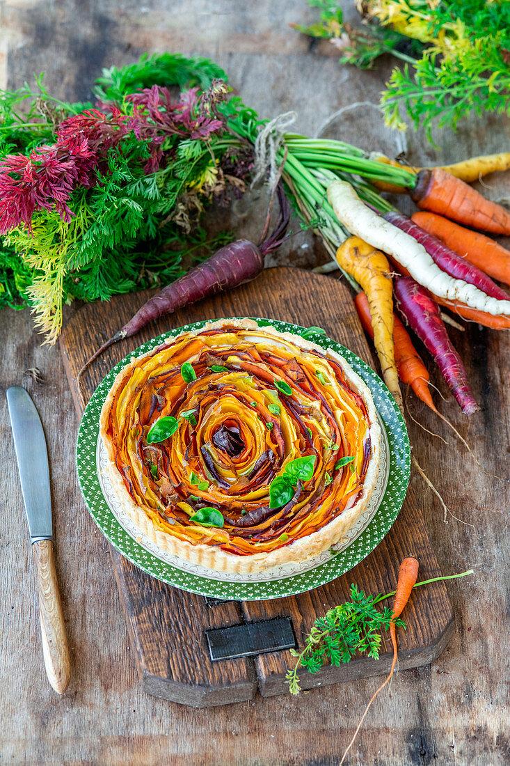 Spiral carrot pie