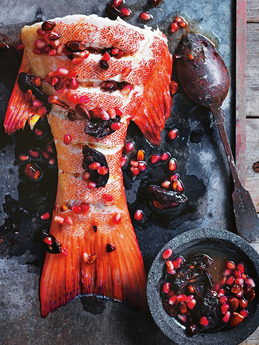 Coral Trout with pomegranate