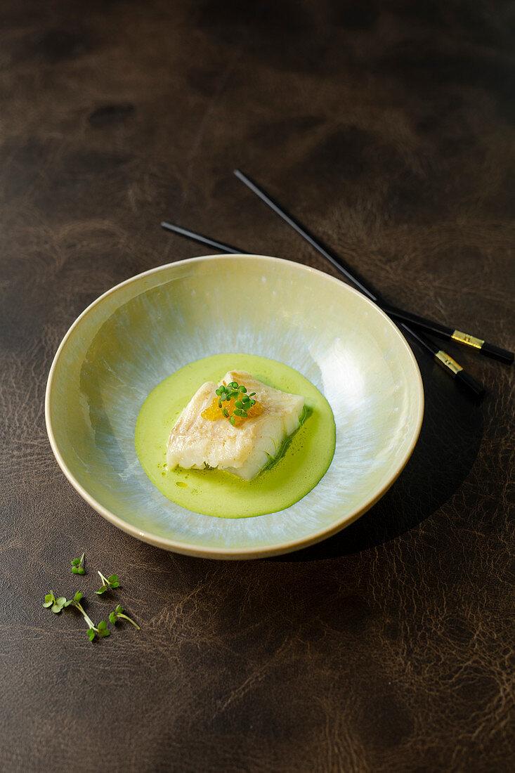 Cod on wasabi foam (Asia)