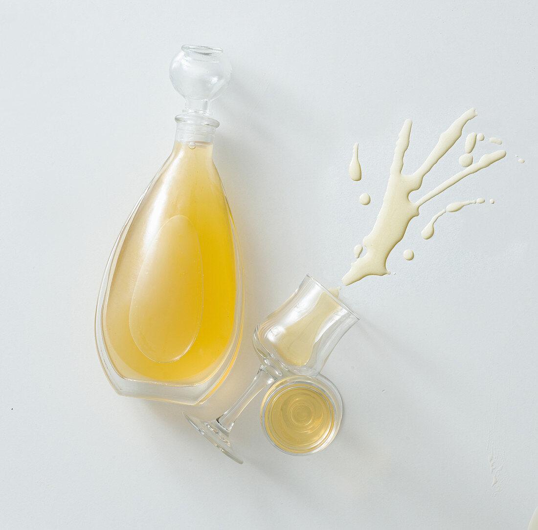 Homemade lemon and honey liqueur